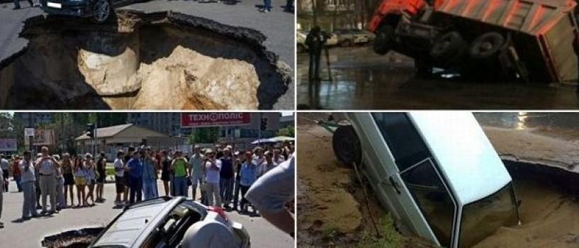"""Un oras din Rusia este """"inghitit"""" de gropi"""