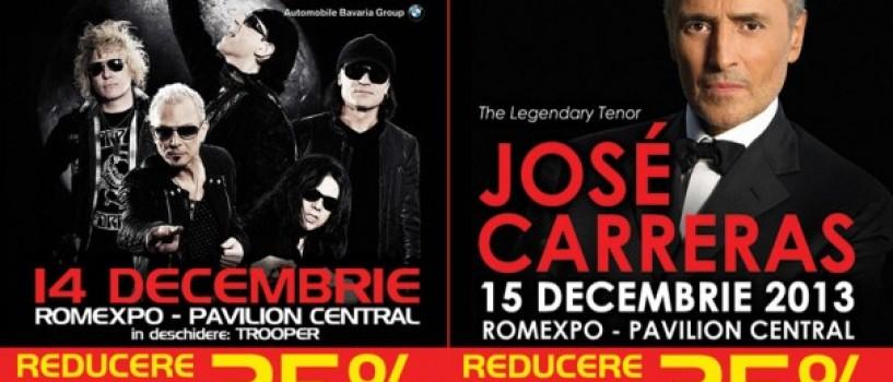24 de ore de reducere la bilete pentru SCORPIONS si JOSÉ CARRERAS