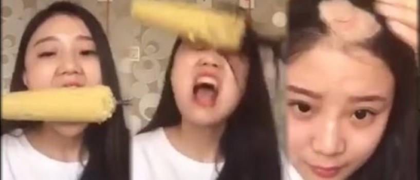 "VIDEO: S-a ""epilat"" in cap incercand sa manance porumb de pe o bormasina in functiune!"