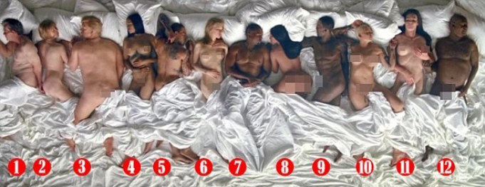 1. George W Bush 2. Anna Wintour 3. Donald Trump 4. Rihanna 5. Chris Brown 6. Taylor Swift 7. Kanye West 8. Kim Kardashian 9. Ray J 10. Amber Rose 11. Caitlyn Jenner si 12. Bill Cosby