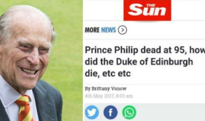 Tabloidul britanic The Sun a anuntat din greseala moartea Printului Philip!
